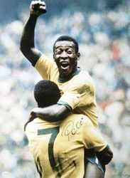 Pele the best football player ever. World cup 1970 in México, with Jairzinho n The PHOTO .