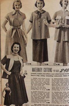 Vintage Maternity Clothes History (and photos)    1950s maternity dresses and seperates