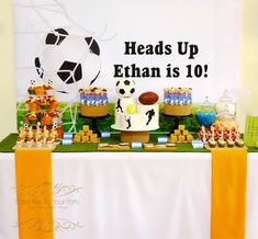 Dessert table at a sports birthday party! See more party planning ideas at CatchMyParty.com!