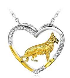 German Shepherd Sterling Silver Heart Necklace
