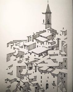 Abstract Architecture In Pen And Ink by Mark Poulier Cityscape Drawing, City Drawing, Drawing Artist, Drawing Sketches, Drawing Tips, Interior Architecture Drawing, Architecture Drawing Sketchbooks, Interior Sketch, Classical Architecture