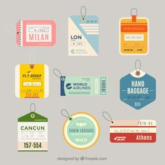 Variety of flat luggage tags in flat design Free Vector