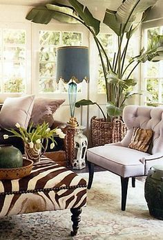 decorating with an animal print ottoman - Google Search