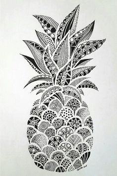 Pineapple Doodle | Plants and flower doodles - Perfect for sketchbooks, art journals and sketchbooks.