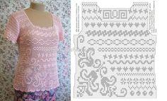 Розовая блузка филейное вязание крючком,филейное вязание схемы вязания,вязание крючком схемы,модели и описания,вязание крючком со схемами,