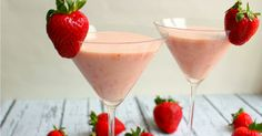 The perfect strawberry cocktail! Made with strawberry puree, cake flavored vodka and cream liquor, it packs a punch but also has a creamy, sweet texture that is sure to please.