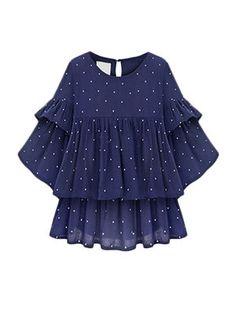Plus Size Summer Style Women Blouse Chiffon Shirt Casual Camisas Femininas O-Neck Polk Dot Printed Pleated Ruffle Tops Chiffon Ruffle, Chiffon Shirt, Chiffon Tops, Ruffle Top, Ruffle Sleeve, Ruffle Blouse, Polka Dot Sweater, Polka Dot Blouse, Spring Fashion Casual