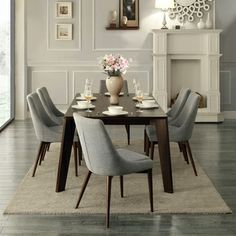 Sasha Curved Grey Linen Upholstered 7-piece Angled-leg Dining Set