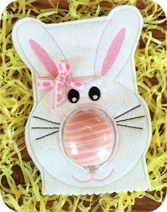 In the Hoop Bunny EOS Lip Balm Holder Machine Embroidery Design File created by EmbroideryGarden.com