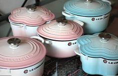 Pink and turquoise Le Creuset.  Envy...