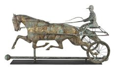 Sold $17,000 Copper horse and sulky weathervane, 19th c., retaining an old gilt and verdigris surface, 18 1/4'' h., 33'' w.