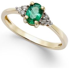 Emerald (2/5 ct. t.w.) and Diamond Accent Ring in 10k Gold (240 CAD) ❤ liked on Polyvore featuring jewelry, rings, yellow gold engagement rings, emerald ring, statement rings, gold cocktail ring and oval cut engagement rings