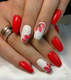 Unhas de gel branco e vermelho com papoilas   Dicas Femininas Dicas Femininas Cute Simple Nails, Cute Nails, Pretty Nails, Nagel Stamping, Stamping Nail Art, Red Nail Polish, Red Nails, Glitter Nails, Red Manicure