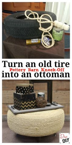 Take an old tire from landfill to living room in just a few simple steps with this DIY Tire Ottoman tutorial.