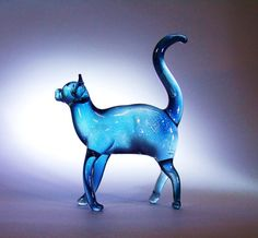 Standing Glass Cat Blue by Glassblobbery on Etsy