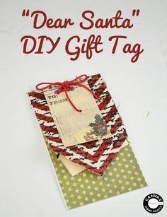 DIY gift card tag - Tattered Angels Mists; 7gypsies Papers and Canvas Home Basics fabric and cording #diyholidaytags #mixedmedia