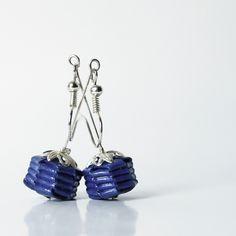 Paper earrings  blue roses by Relydesign on Etsy, €12,00