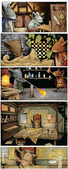 Mouse Guard: Fall Written & illustrated by David Petersen. Cartoon Drawings, Animal Drawings, Mouse Guard Rpg, Fantasy World, Fantasy Art, Comic Book Pages, My Favorite Image, Rodents, Coloring Book Pages