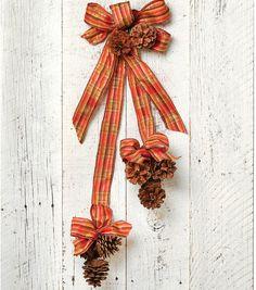 Pinecone Picks with Ribbon