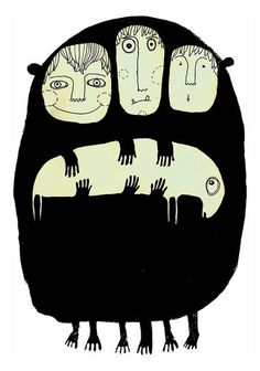 Three in One, illustration by Jenny. Art And Illustration, Illustrations And Posters, Kunst Inspo, Art Inspo, Painting & Drawing, Illustrators, Cool Art, Art Drawings, Black White