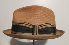 "Dunlap Men's Gold Straw Stingy Brim Fedora Hat by Dunlap Size 7 1/8"""