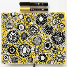 Ink Drawings Posca paint pens floral sketchbook page by Kate Hadfield (inspired by Creative Bug's Sketchbook Explorations classes)! Art Journal Pages, Doodle Art Journals, Sketchbook Pages, Sketchbook Ideas, Urban Drawings, Art Drawings, Drawing Designs, Drawing Faces, Flowers Illustration