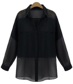Trendy Shirt Collar Long Sleeve Solid Color Blouse For Women