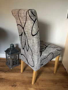Grey with Black & Pattern Dining Chair Covers, Dining Chairs, Grey Velvet Chair, Scribble, Wingback Chair, Accent Chairs, Pattern, Furniture, Black