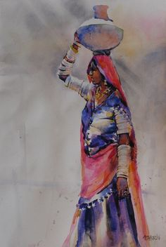 Woman Water color on paper by Ather Jamal Pakistani Artist. Size: 14 x 21 Woman Water color on paper by Ather Jamal Pakistani Artist. Size: 14 x 21 Indian Women Painting, Indian Paintings, Indian Art, Fabric Painting, Artist Painting, Figure Painting, Artist Art, Saree Painting Designs, Rajasthani Painting