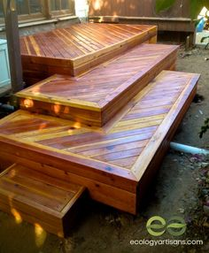 stained redwood deck with mitered caps