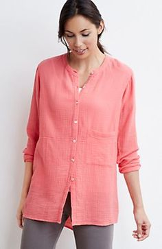 Pure Jill crinkled double-cloth tunic