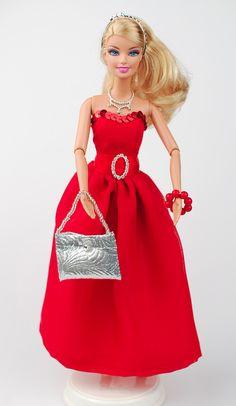 Spielzeug - Barbie-Kleid mit 2 Tops, Stola, Schuhen, Tasche - ein Designerstück von shopmauselke bei DaWanda