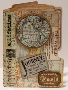 It's All About Me & Mine: Mini File Folder Book - Travel themed. Mini Albums, Mini Scrapbook Albums, Scrapbook Pages, Book Journal, Art Journals, Travel Journals, Journal Ideas, Album Photo Scrap, Tarjetas Diy