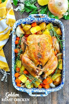 Crispy Roast Chicken with Vegetables This crisp and juicy Roast Chicken with Vegetables is an easy dinner and a one pot meal that only requires 15 minutes of prep work! Baked Whole Chicken Recipes, Oven Roasted Whole Chicken, Crispy Roasted Chicken, Roasted Vegetables With Chicken, Roast Chicken Dinner, Roasted Chicken And Potatoes, Easy Roast Chicken, Roast Chicken Recipes, Roast Dinner