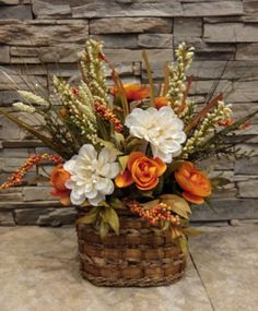 Most current Pics Fall Floral Arrangement Thanksgiving Centerpiece Harvest Arrangement with Orange and White Flowers Grasses Berries Basket Strategies Holders are chosen for decorative purposes as well as can be used functionally for regulatory or col Pumpkin Centerpieces, Thanksgiving Centerpieces, Floral Centerpieces, Easter Centerpiece, Thanksgiving Table, Fall Table, Fall Flowers, White Flowers, White Dahlias