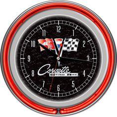 Gm1400B-C2-Cor Corvette C2 Black Chrome Double Ring Neon Clock