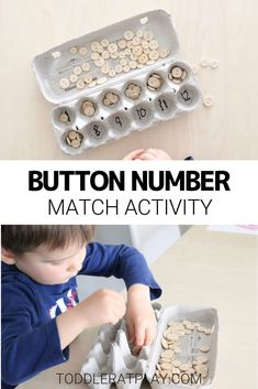This Button Number Match Activity is so simple and quick to make, you'll have a fun educational activity set up for your little learner in no time.  #numbermatch #learningnumbers #recycledcrafts Educational Activities For Kids, Outdoor Activities For Kids, Preschool Activities, Number Activities, Recycled Crafts Kids, Diy Crafts, Learning Numbers, Little Learners, Easy