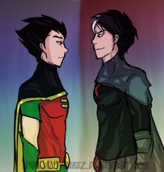 Robin and Red X (Jason Todd?)this would make sense right? The teen titans always reassembled thier comIcs in some ways and Jason did pose as night wing before...and batman and thier around the same age but maybe Robin doesn't think that cuz he's suppose to be dead???-3-