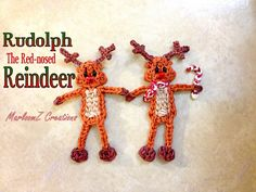 Rainbow Loom Rudolph The Red Nose Reindeer Tutorial - How To using Loom Bands Marloomz Creations Can be made on a Rainbow Loom, Crazy loom, Twist n loop and . Rainbow Loom Patterns, Rainbow Loom Creations, Rainbow Loom Bands, Rainbow Loom Charms, Rainbow Loom Bracelets, Loom Love, Fun Loom, Loom Crochet, Loom Knitting