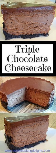 Calling all chocolate lovers - if you love chocolate and cheesecake, this dessert is for you. With an oreo crust, creamy chocolate cheesecake, and dark chocolate ganache icing, this triple chocolate…More Triple Chocolate Cheesecake, Chocolate Desserts, Chocolate Ganache, Chocolate Lovers, Ganache Icing, Chocolate Topping, Just Desserts, Delicious Desserts, Dessert Recipes