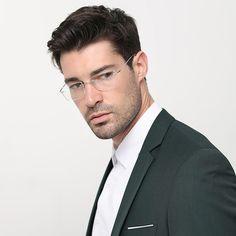 d11917f88 Titanium Glasses Frame Men Rimless Fashion Business Titanium Eyeglasses  Frame