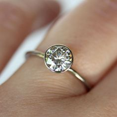 6mm Moissanite 14K White Gold Engagement Ring, Stacking Ring - Made To Order