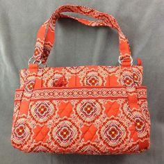 Vera Bradley Paprika Stephanie Purse Pleated Shoulder Bag Tote Orange