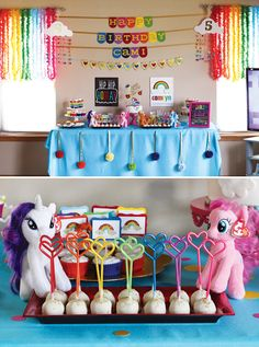 Rainbow Dash My Little Pony Birthday Party. Cute ideas to use stuffed animals or the lil plastic pony's as decor! Rainbow Dash Party, Rainbow Dash Birthday, Unicorn Birthday, Unicorn Party, Rainbow Unicorn, My Little Pony Party, Cumple My Little Pony, 4th Birthday Parties, Birthday Fun