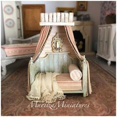 Half Inch Scale Country Cottage Bed or One Inch Scale Pet Bed #youdecide #miniatures #handmade #ooak #dollhouse #dollhouseminiatures #dollhousefurniture #country #cottage #decor  #miniature #decor #maritzaminiatures #sale #maritzaminiaturesetsy