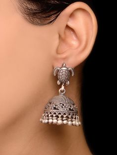Buy Silver Tortoise Drop Jhumkis Jewelry Earrings Companions 200+ jhumkas. Get 10% off when you two! Online at Jaypore.com