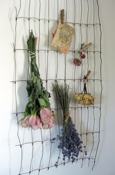 vintage fencing ~ dried flowers - in the laundry room or studio to dry herbs? Nice!
