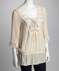 Take a look at this Natural Crocheted Drop-Waist Tunic  by Weekend Wardrobe: Women's Apparel on #zulily today!