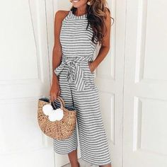 cb6f9d3358ae Women Summer Striped Jumpsuits O-neck Bowknot Pants Sleeveless Rompers