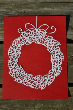 Leaf Wreath with Bow. Original Paper Cut By Hand. by ScissorSnip -- Etsy